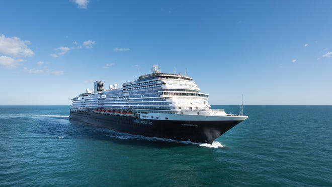 Holland America's newest ship, the 2,650-passenger Koningsdam, undergoing sea trials in January 2016.