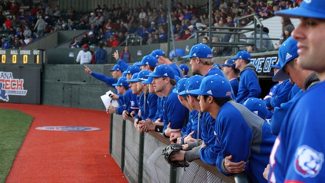 Louisiana Tech's dugout looks on last week in the Bulldogs win over No. 6 UL Lafayette. Tech takes on another ranked team Wednesday at Arkansas.