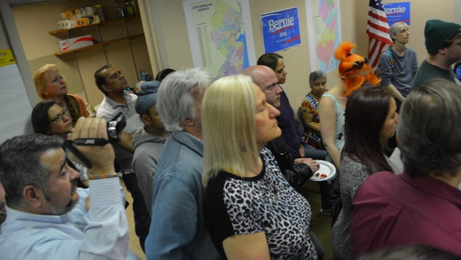 Supporters of Bernie Sanders for president gather for the opening of his Northwest New Jersey field office on North Sussex Street in Dover on April 20, 2016