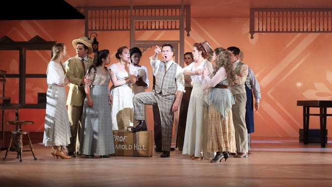 """Brian Robinson is Prof. Harold Hill in Flat Rock Playhouse's production of """"The Music Man."""""""