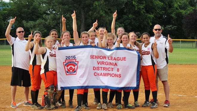 The Senior Shore Girls Little League team defeated Northampton/Warwick 9- 5 in Luray, Va. to cinch the state championship on July 7.