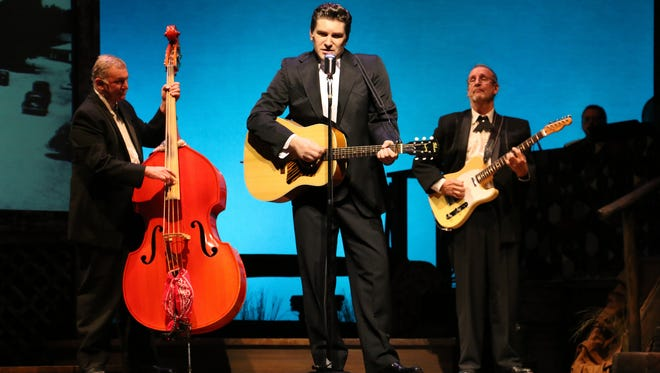 """Benjamin D. Hale (center) stars in """"Ring of Fire: The Music of Johnny Cash"""" at Riverside Theatre."""