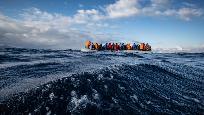 A Medecins Sans Frontiers (MSF) and Greenpeace rescue team responded to a sinking rigid inflatable boat (rhib) carrying 45 Afghan refugees crossing from Turkey to the north shore of Lesvos, Greece.