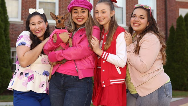 In 'Legally Blonde the Musical,' Elle Woods gains her independence and pride with a little help from her friends Margot, Serena, Pilar, and of course, from her beloved Chihuahua named Bruiser. From left: Natalie Wrigley of Gloucester Township, JAXX of Gloucester Township and Brigantine, Lindsay Deal of Gloucester Township, Ashley Neilio of Magnolia, and Corinne Palacio of Gloucester Township