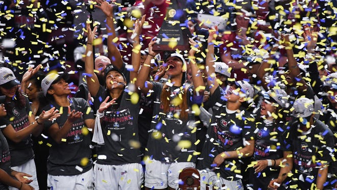 South Carolina defeated Mississippi State 59-49 to win its third straight SEC Women's Basketball Tournament Championship.