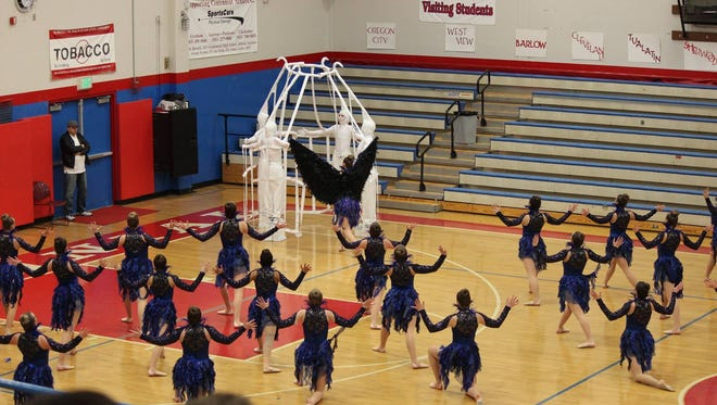 """The Stayton Highlights Dance Team performs their program """"Uncomfortably Comfortable."""""""