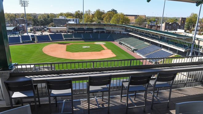 The new Rooftop at Fluor offers a bird's-eye view of the ballpark and can accommodate up to 80 fans.