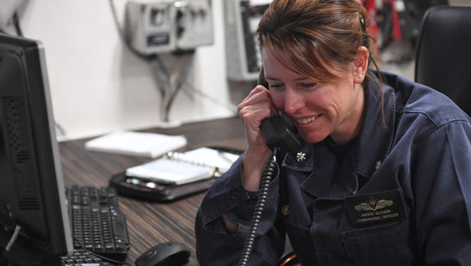 U.S. Navy Cmdr. Andria Slough, aboard the USS Porter, takes call from President Trump.