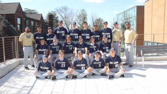 Coach Frank Salvano Jr. (far right) is in his first season leading the Dwight-Englewood baseball program after years of serving as an assistant at his alma mater, St. Joseph.