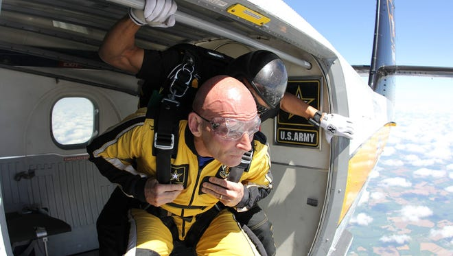 Lieutenant General Keith Huber prepares to jump on April 25, 2017.