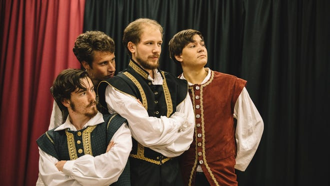 "Left to right: Jude Van de Voorde as Longaville, James Barrows as Berowne, Mike Driscoll as Ferdinand and John Paul Beller as Dumain perform in ""Love's Labour's Lost"" by Ave Maria University's Shakespeare in Performance troupe."