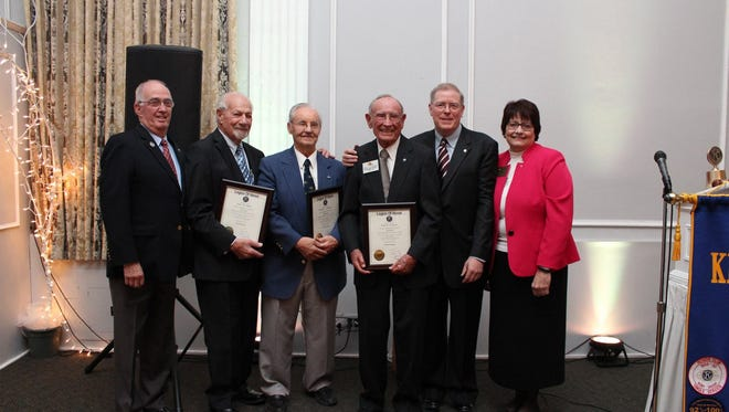The surviving founding members of the club -- Jim Jabara, Dick Anderson, and former Kiwanis International President Gene Overholt --  were presented with the Kiwanis Legion of Honor Award by former Kiwanis International Presidents Bill Lieber and Susan Petrisin.