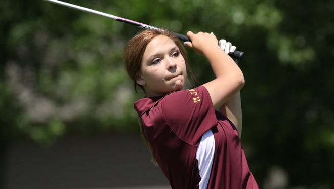 Courtni Frank of Deubrook Area hits her tee shot to the 8th green during Tuesday's final found of the State B at Prairie Green GC in Sioux Falls.