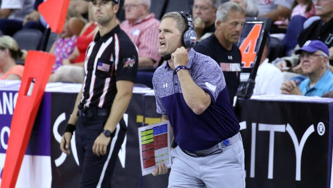 Storm Head Coach Kurtiss Riggs yells instructions during Saturday's United Bowl against the Arizona Rattlers at the Premiere Center.