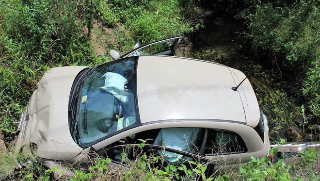 Roxana and Millville volunteer fire companies and Sussex County EMS responded when an Edgewater, Maryland man ran his car into an irrigation ditch off Bayard Road in Sussex County Wednesday.