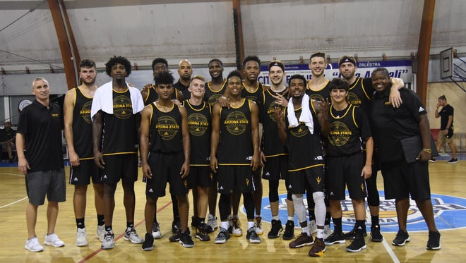 ASU men's basketball after their first win on Aug. 3 in Rome.