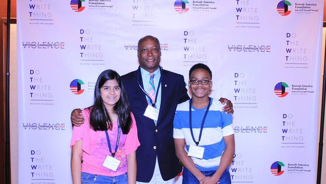 Bansi Govin, Ernest Brooks and Jah'Karious Conley in Washington, D.C. for the Do the Write Thing recognition.