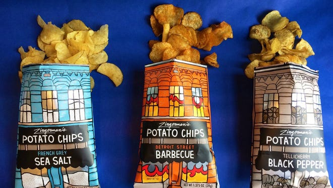 Zingerman's potato chip flavors include French Grey Sea Salt,  Detroit St. Barbecue and Tellicherry Black Pepper.