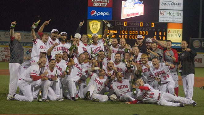 The Freedom celebrate their divisional series win at home Sept. 9