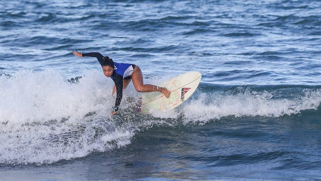 Angel Lea Aguilar shows off the form that got her placement in the pro division of the Aliya Wahine Cup 2017 in Baler, Philippines.