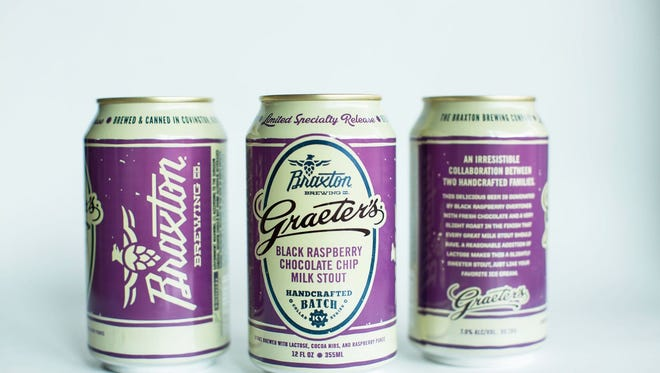 Black Raspberry Chocolate Chip milk stout, a collaboration between Braxton Brewing and Graeter's ice cream, with a new recipe for 2018