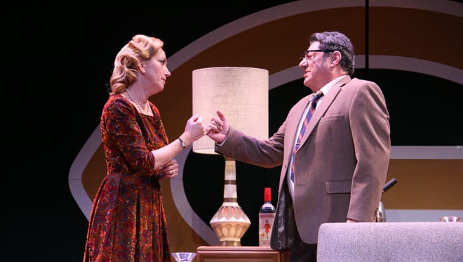 "Denise Cormier as Marie Lombardi and  Richard Zavaglia as Vince Lombardi in ""Lombardi"" through Feb.18 on the Stark Stage at Riverside Theatre in Vero Beach."