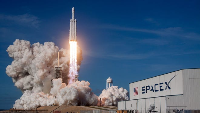 At 3:45 p.m. Tuesday, Feb. 6, SpaceX's Falcon Heavy rocket blasted off for the first time from pad 39A at NASA's Kennedy Space Center.