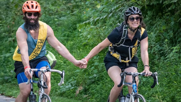 Shona and Steven McHone take a romantic bike ride.
