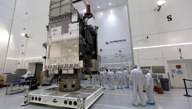 On Dec. 6, 2017, NOAA's Geostationary Operational Environmental Satellite-S, or GOES-S, was positioned on a work stand at Astrotech Space Operations in Titusville. After a March 1, 2018, launch atop a United Launch Alliance Atlas V rocket, NOAA reported a problem with the weather satellite's primary imager, provided by Harris Corp.