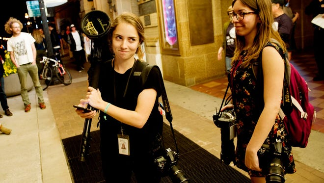 Caitie McMekin and Brianna Paciorka make faces for the camera while covering the Big Ears festival last year in Knoxville.
