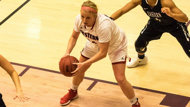 Montana Western forward Darby Schye of Malta secures a rebound. She's among several Treasure State natives playing for the four Frontier Conference teams that have qualified for the tourney.