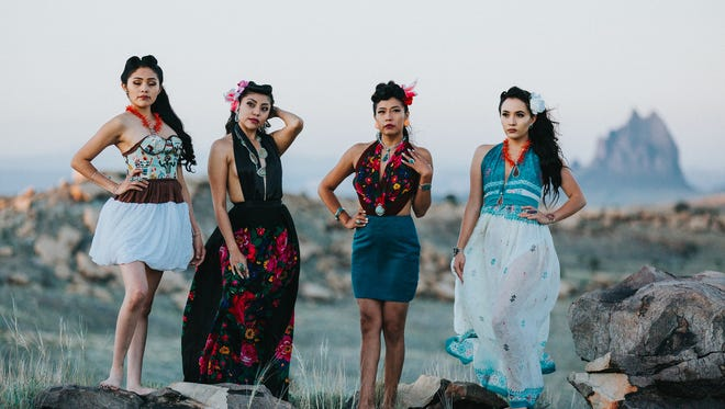 Ariana R. Young, left, Jerae Curtis, Vonica Kaskalla and Alexandra R. Holiday model part of the latest line from JG Indie. The work will featured in a fashion show Saturday night at the Farmington Museum at Gateway Park.
