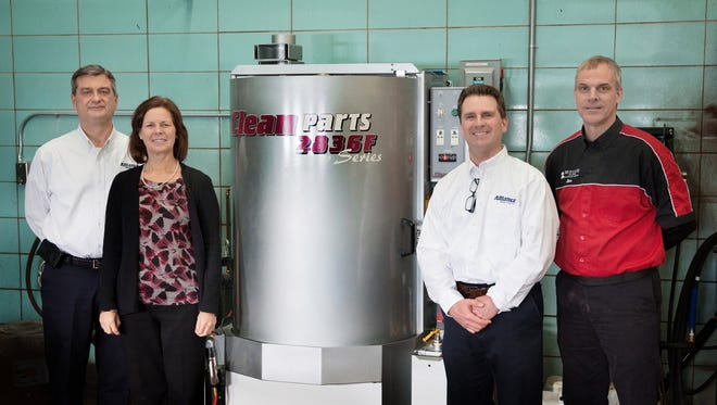 Alliance Manufacturing, Inc., recently donated a parts washer to Moraine Park Technical College. Pictured are, from left: Jeff Brouchoud, president, Alliance Manufacturing; Dana Bourland, director of College Advancement, Moraine Park; Ken Manninen, vice president, Alliance Manufacturing; and Jim Daniels, Automotive Technician instructor, Moraine Park.