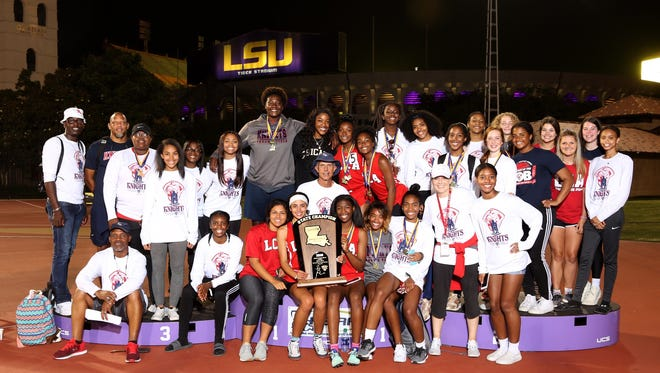 The Lafayette Christian Lady Knights' track and field squad won the Class 1A state championship Friday at Bernie Moore Stadium in Baton Rouge.