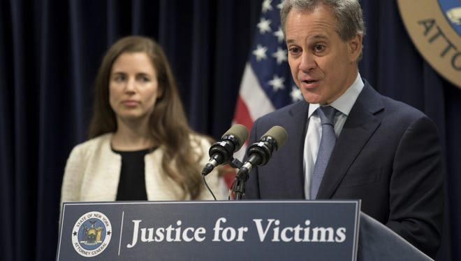 Now disgraced former Attorney General Eric Schneiderman spoke Feb. 12, 2018, as he filed a lawsuit against the Weinstein Company over sexual-abuse allegations. Schneiderman resigned Monday, May 7, 2018, over allegations he abused four women