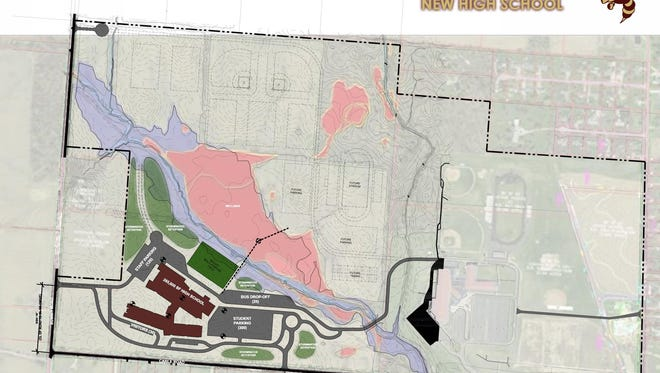 An overhead, preliminary site plan of the potential new Licking Heights High School.