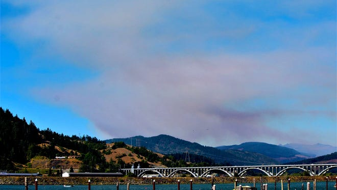The Lobster Creek Fire burns 13 miles away from Gold Beach on the Oregon Coast.