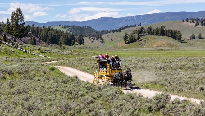 Wagon arriving at Tower Junction in Yellowstone National Park