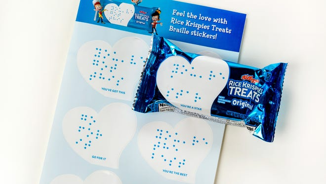 """The Rice Krispies Treats """"Love Note"""" Braille stickers are heart-shaped."""