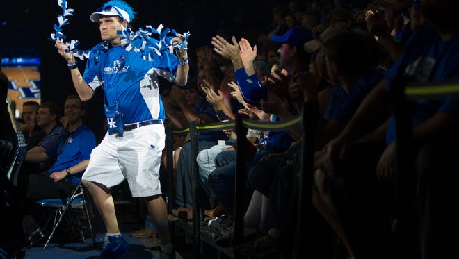 """Darren Moscoe, aka """"Rupp's Boogie Man"""" dances during the Big Blue Madness event at Rupp Arena. October 17, 2014."""