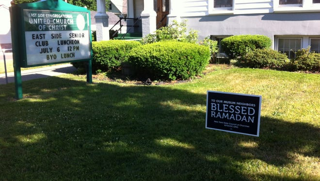 East Side Congregational United Church of Christ in Binghamton put up a small sign supporting Muslims during Ramadan.