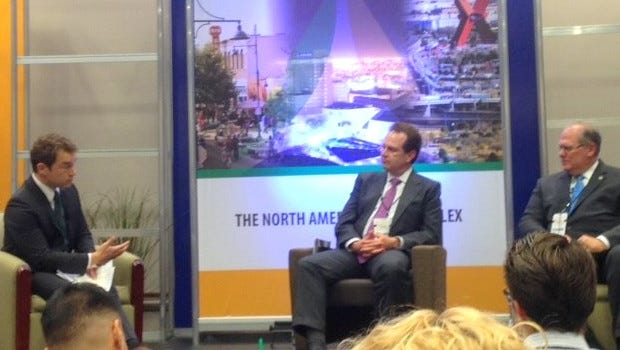 Patrick Schaefer, executive director of the Hunt Institute for Global Competitiveness at UTEP, asks a question to energy panelists at the recent U.S.-Mexico Border Summit in El Paso.