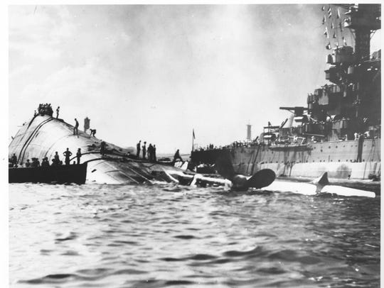 A picture of the capsized USS Oklahoma after it was