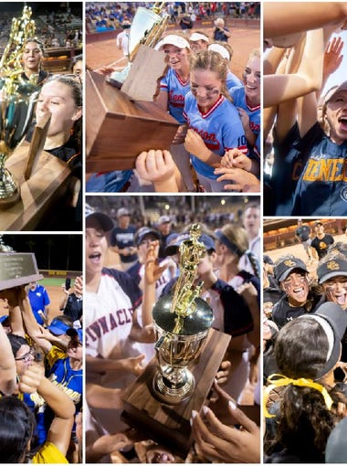 Superior, Benson, Cienega, Salpointe, Pinnacle and Sahuarita celebrate their 2018 AIA softball championships.