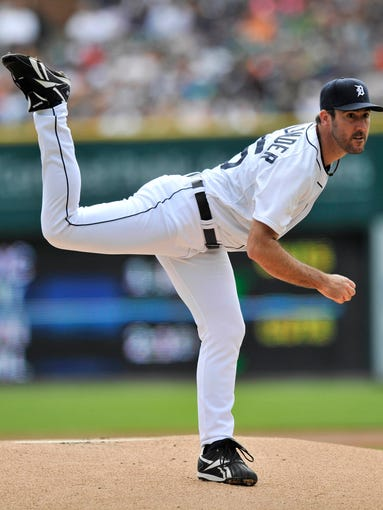 Tigers pitcher Justin Verlander works in the first inning.  Verlander pitched five and 2/3 innings allowing six hits with three earned runs, three walks and six strikeouts.