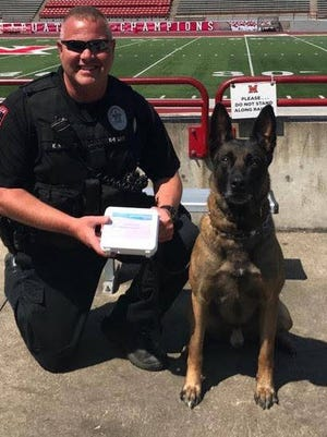 K-9 Figo of the Miami University Police Department has received a Naloxone First Responder Kit.