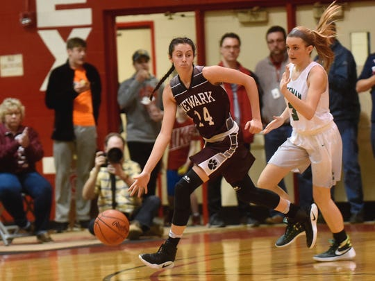 Newark sophomore Katie Shumate races upcourt against a Dublin Coffman defender during the Wildcats' regional final win.