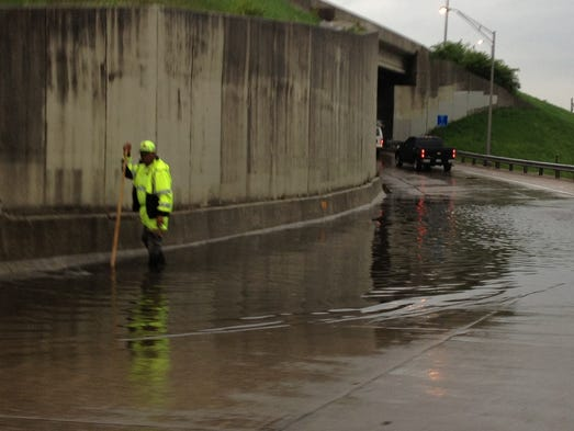 High water closed the exit ramp from I-75/71 SB to 12th Street in Covington Monday morning.