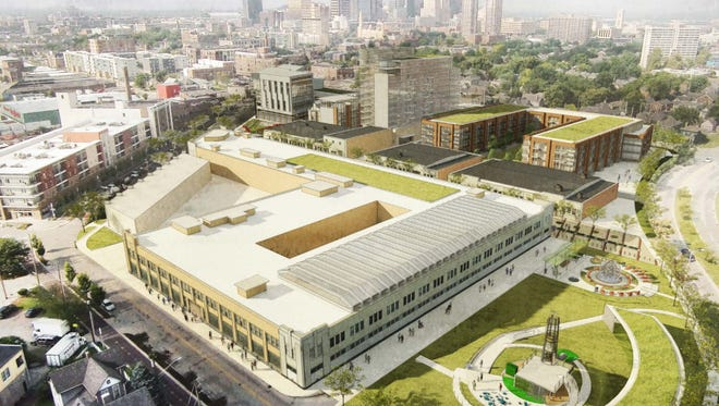 This is a rendering of Milhaus Properties' first of two bids to develop the former Coca-Cola bottling plant.