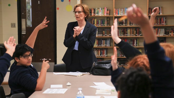 JCPS superintendent Donna Hargens took suggestions and comments from students about solutions to the overcrowding at Crosby Middle School Tuesday morning.